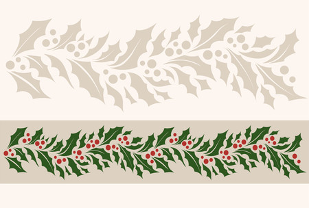 Horizontal border pattern with Christmas holly illustration. Ilustração