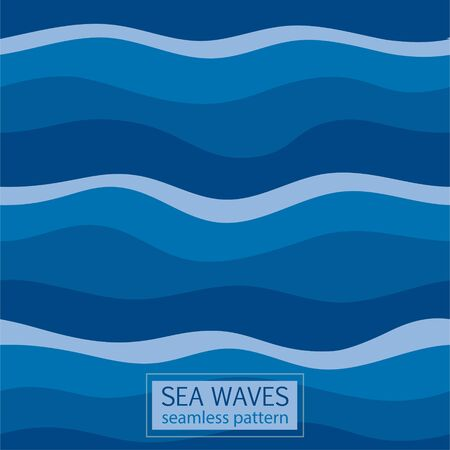 Seamless Pattern Abstract Wave, blue wavy marine lines artistic abstract design for decoration element. Ilustração