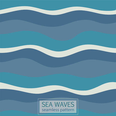 Abstract wave seamless pattern, blue wavy marine lines artistic abstract design for decoration element.