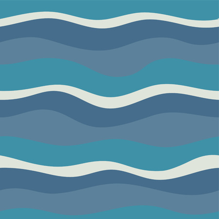 Water Wave abstract design. Marine seamless pattern with stylized blue waves on a light background Ilustração