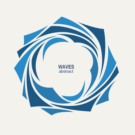 Water Wave icon abstract design. Cosmetics Surf Sport icon concept. Round aqua icon.