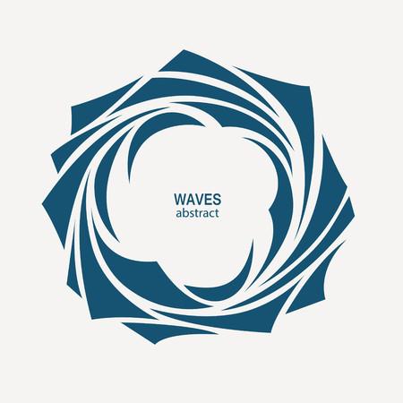 Water Wave Logo abstract design. Cosmetics Surf Sports Logotype concept. Round aqua icon. Ilustração