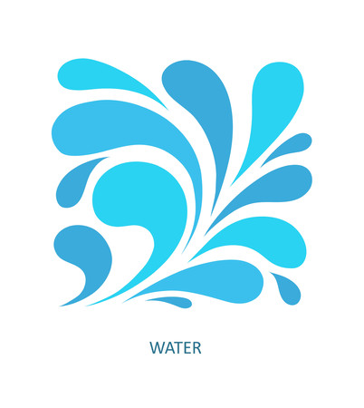 Water wave icon abstract design. Cosmetics surf sport icon concept. Square aqua icon. Ilustração