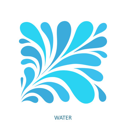 Water Wave icon abstract design. Cosmetics Surf Sport icon concept. Square aqua icon.