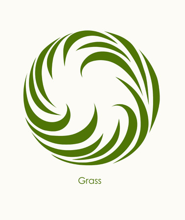 Grass Label abstract design. Round icon. Beautiful Logo Garden Company.
