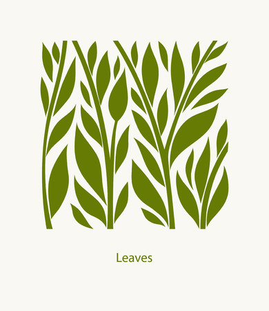 Leaves Label abstract design. Square icon.