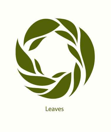 Leaves Label abstract design. Round icon. Beautiful Logo Garden Company. Ilustração