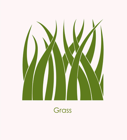 Grass Label abstract design. Square icon. Beautiful Logo Garden Company. Ilustração