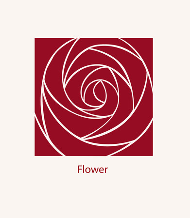Rose Label abstract design. Cosmetics concept. Square icon.  Flower for Boutique or Beauty Salon or Flowers Company. Ilustração