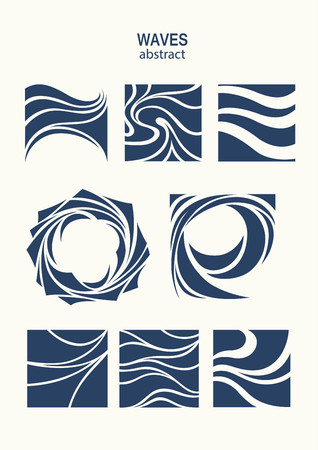 Set Water Wave Logo abstract design. Cosmetics Surf Sport Logotype concept. Square aqua icon