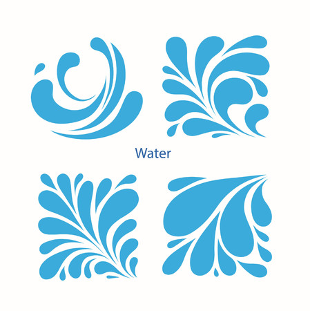 Set Water blue Drops icons. Square aqua icon. Vector illustration.