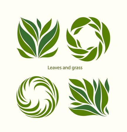 Set Grass and Leaves Label abstract design. Square and Round icon. Beautiful Logo Garden Company. Vector illustration. Ilustração