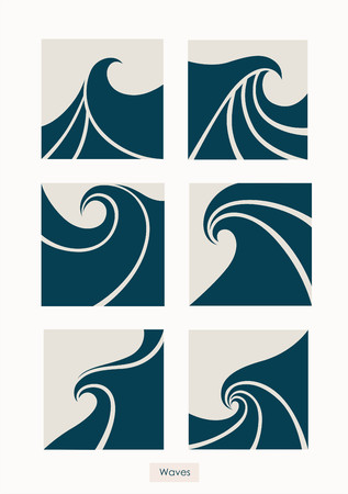 Set Water Wave icon abstract design. Cosmetics Surf Sport concept. Square aqua icon.