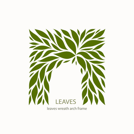 Green Leaflets Logo abstract design. Arch with Leaves sign. Floral decoration Symbol. Cosmetics and Spa Ilustração
