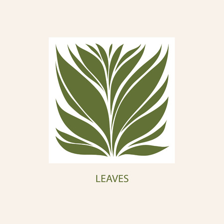 Green leaves icon abstract design. Cosmetics and spa icon concept.