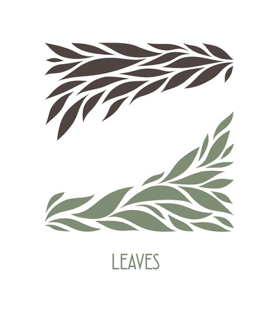Gray and Brown Leaflets Logo abstract design. Plant with Leaves sign. Floral decoration Symbol. Cosmetics and Spa Logotype concept. Square garden icon.