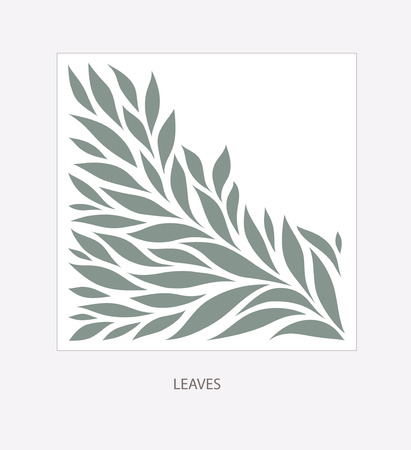 Gray Leaflets Logo abstract design. Plant with Leaves sign. Floral decoration Symbol. Cosmetics and Spa