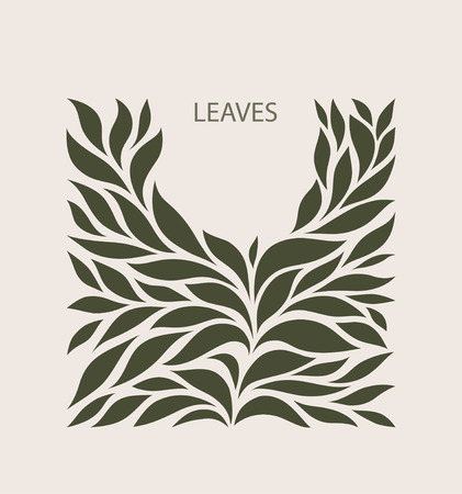 Green Leaflets Logo abstract design. Plant with Leaves sign. Floral decoration Symbol. Cosmetics and Spa  Logotype concept. Square garden icon.