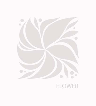 Flower with Petals Logo abstract design. Plant with Leaves sign. Floral decoration Symbol. Cosmetics and Spa Logotype concept. Square garden icon. Ilustração
