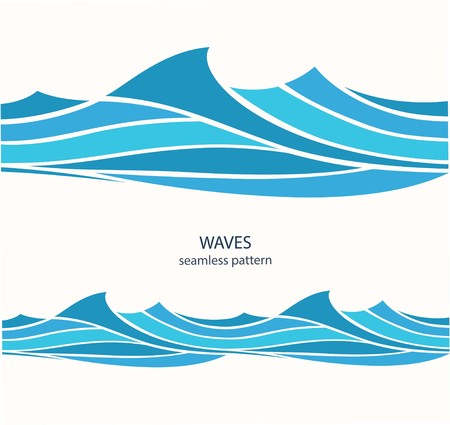 Marine seamless pattern with stylized blue waves on a light background. Water Wave abstract design. Imagens - 100993047