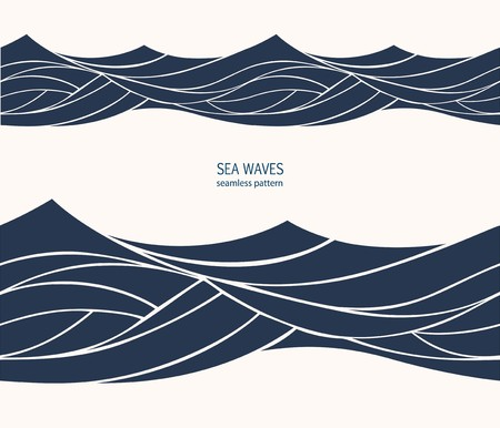 Marine seamless pattern with stylized blue waves on a light background. Water Wave abstract design.  Ilustração