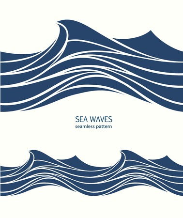 Marine seamless pattern with stylized blue waves on a light background. Water Wave abstract design. Imagens - 101077305