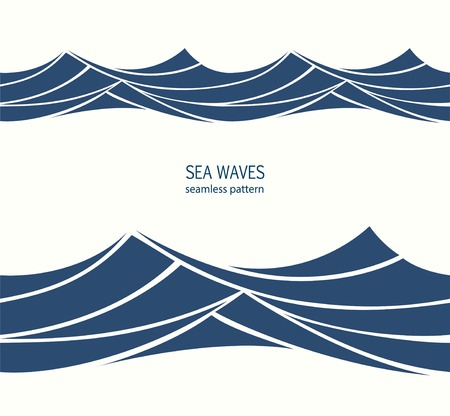 Marine seamless pattern with stylized blue waves on a light background. Water Wave abstract design. Imagens - 101077307