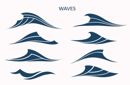 Marine pattern with stylized blue waves on a light background. Water Wave Logo abstract design. Cosmetics Surf  Sport Logotype concept. Ilustração