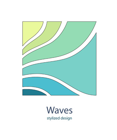 Water Wave Logo abstract design. Cosmetics Surf Sport Logotype concept. Square aqua icon. Imagens - 103764788