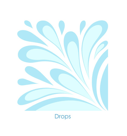 Water drop on white background. Stylized image of drops inscribed in a square