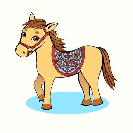 Dibujos animados de caballo pequeño amarillo con ojos marrones sobre un fondo claro