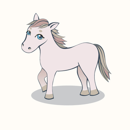 Small Horse Cartoon pink with blue eyes on a light background