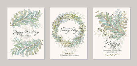 Set of card with beautiful twigs with leaves. Wedding ornament concept. Imitation of watercolor, isolated on white. Sketched wreath, floral and herbs garland Imagens - 114785981