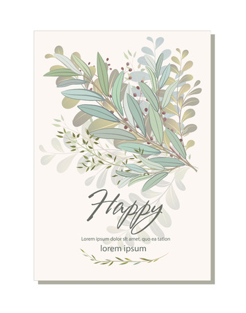 Card with beautiful twigs with leaves. Wedding ornament concept. Imitation of , isolated on white. Sketched wreath, floral and herbs garland