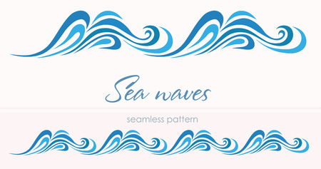 Marine seamless pattern with stylized waves on a light background.  Blue water Sea Wave abstract vector background.