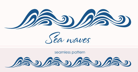 Marine seamless pattern with stylized waves on a light background. 