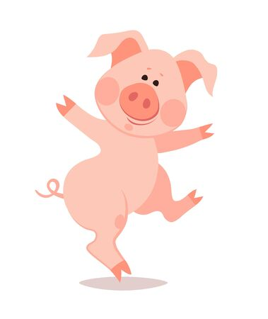 Cartoon dancing little pig. The year of the pig. Chinese New Year. Imagens