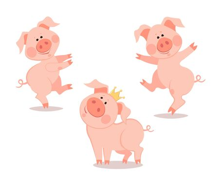 Cartoon dancing little pig. The year of the pig. Chinese New Year. Ilustração