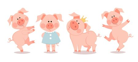 Cartoon little piglets. The year of the pig. Chinese New Year.