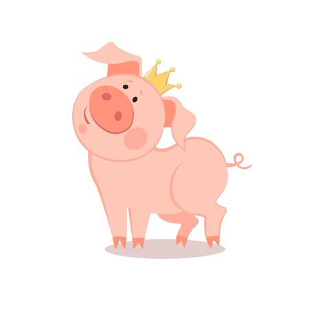Cartoon little prince Pig. The year of the pig. Chinese New Year.