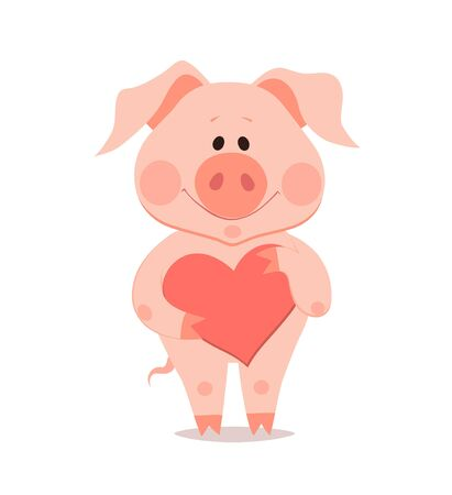 Cartoon little pig with heart in hand. The year of the pig. Chinese New Year. Ilustração