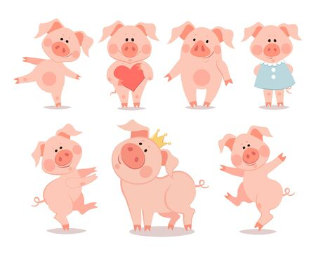 Cartoon little dancing piglets. The year of the pig. Chinese New Year.