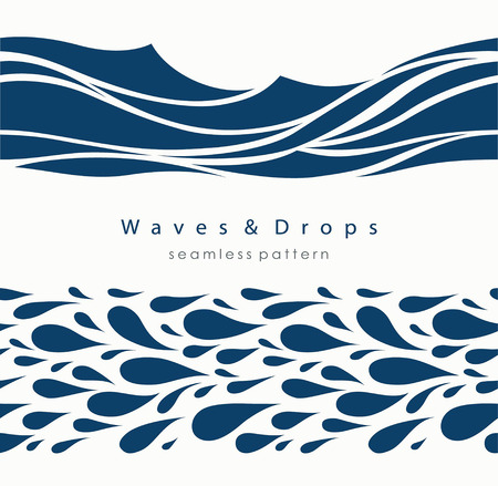 Marine seamless pattern with stylized waves on a light background. Blue water Sea Wave abstract vector background. Ilustração