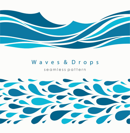 Marine seamless pattern with stylized waves on a light background. Blue water Sea Wave abstract vector background. Imagens - 126209343