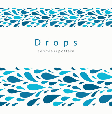 Seamless pattern with stylized drops on a light background. Blue water abstract vector background. Ilustração