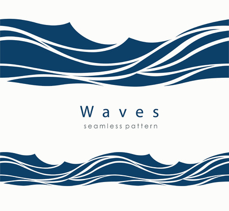 Marine seamless pattern with stylized waves on a light background. Blue water Sea Wave abstract vector background. Illustration