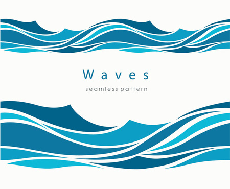 Marine seamless pattern with stylized waves on a light background. Blue water Sea Wave abstract vector background. Vettoriali