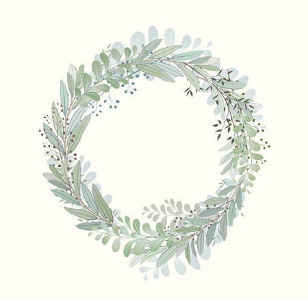 Card with beautiful twigs with leaves. Wedding ornament concept. Imitation of watercolor. Sketched wreath, floral and herbs garland Imagens - 126005854