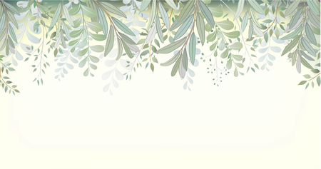 Card with beautiful twigs with leaves. Wedding ornament concept. Imitation of watercolor. Sketched wreath, floral and herbs garland Imagens - 115549991