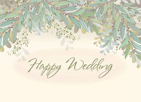 Card with beautiful twigs with leaves. Wedding ornament concept. Imitation of watercolor. Sketched wreath, floral and herbs garland Imagens - 133663506